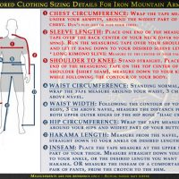 Tailored Clothing Sizing Details for Iron Mountain Armory